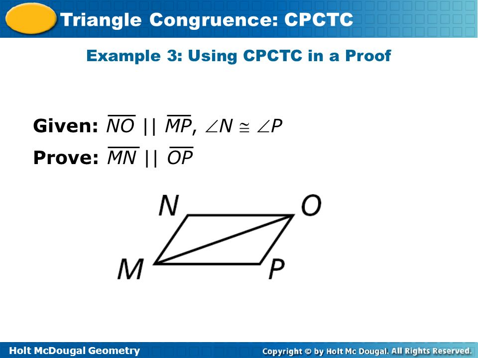 Example 3: Using CPCTC in a Proof