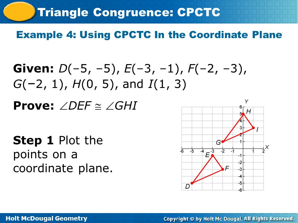 Example 4: Using CPCTC In the Coordinate Plane