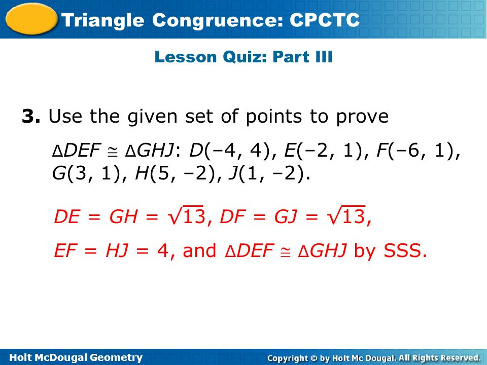 3. Use the given set of points to prove