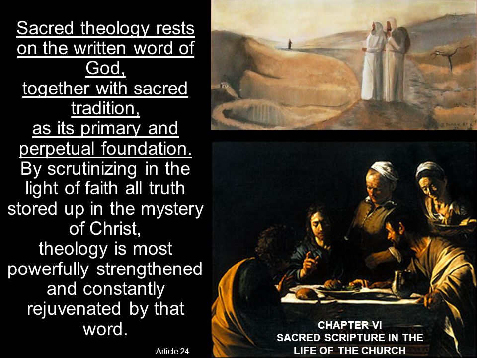 CHAPTER VI SACRED SCRIPTURE IN THE LIFE OF THE CHURCH