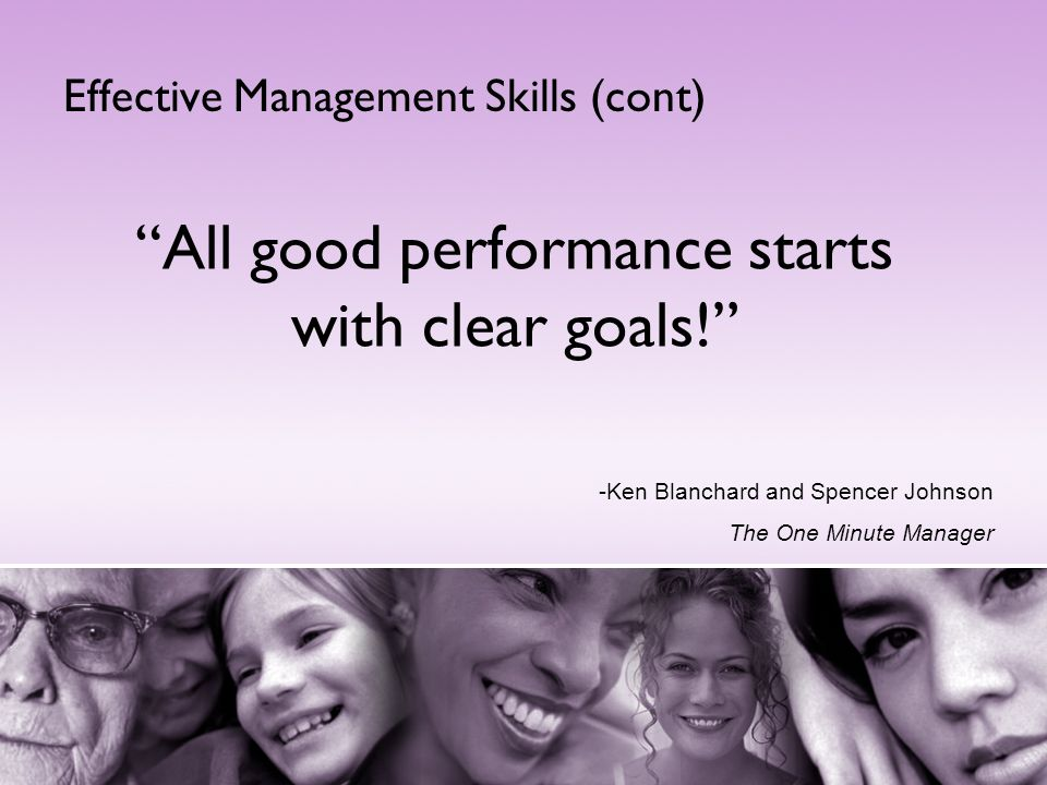 All good performance starts with clear goals!