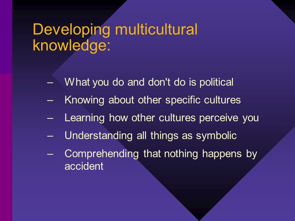 Developing multicultural knowledge: