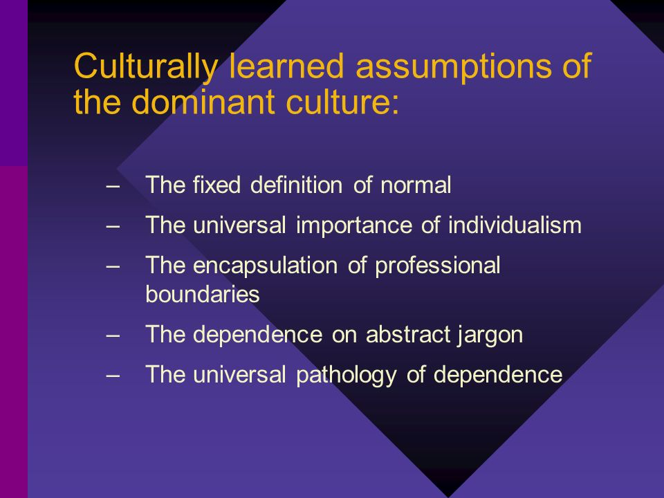 Culturally learned assumptions of the dominant culture: