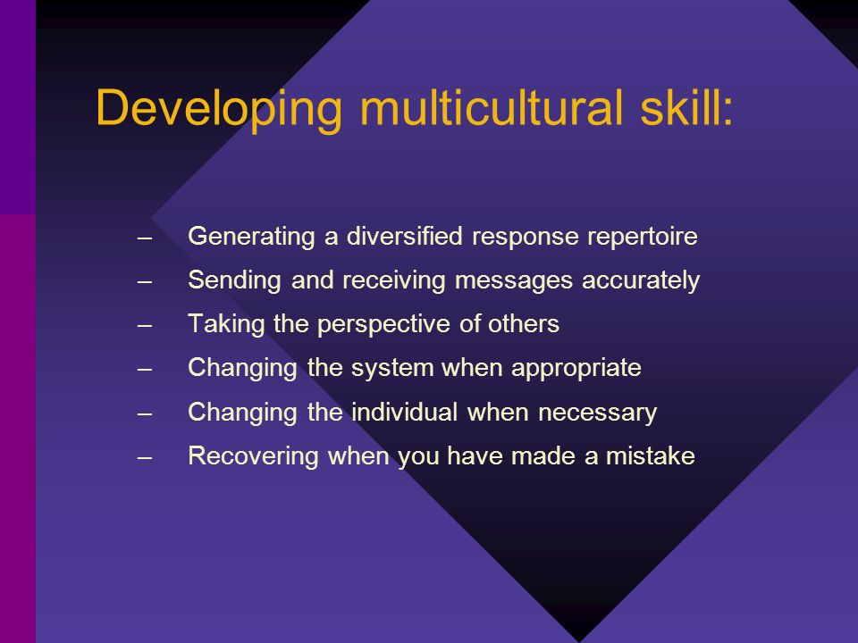 Developing multicultural skill: