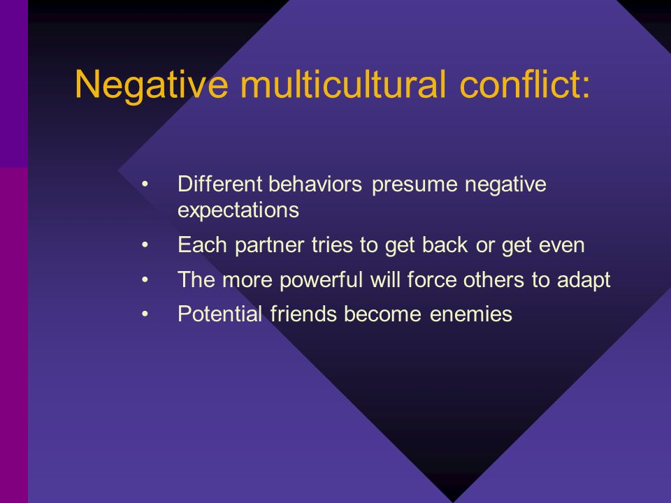 Negative multicultural conflict: