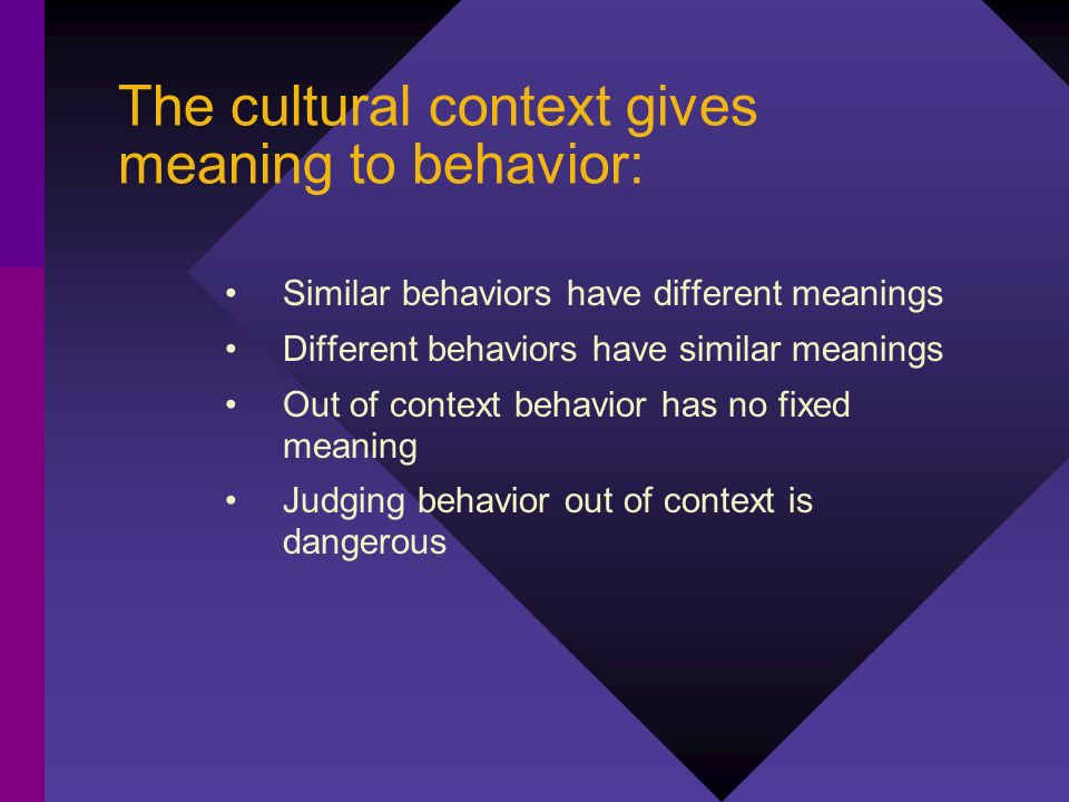 The cultural context gives meaning to behavior: