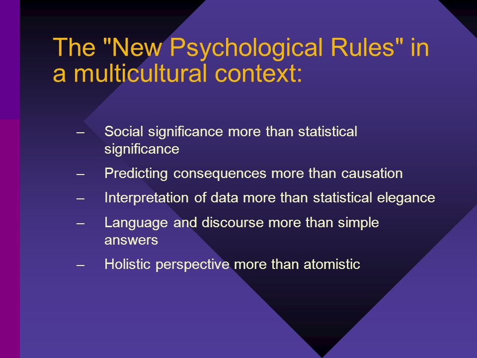The New Psychological Rules in a multicultural context: