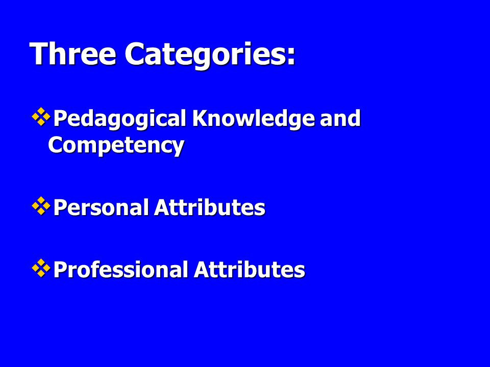Three Categories: Pedagogical Knowledge and Competency