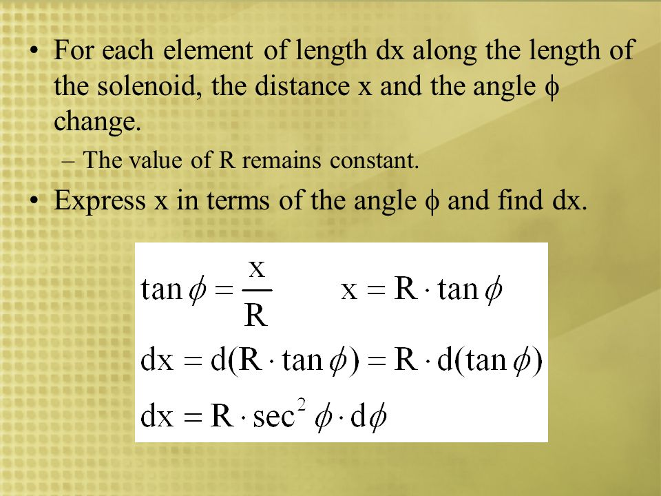 Express x in terms of the angle  and find dx.