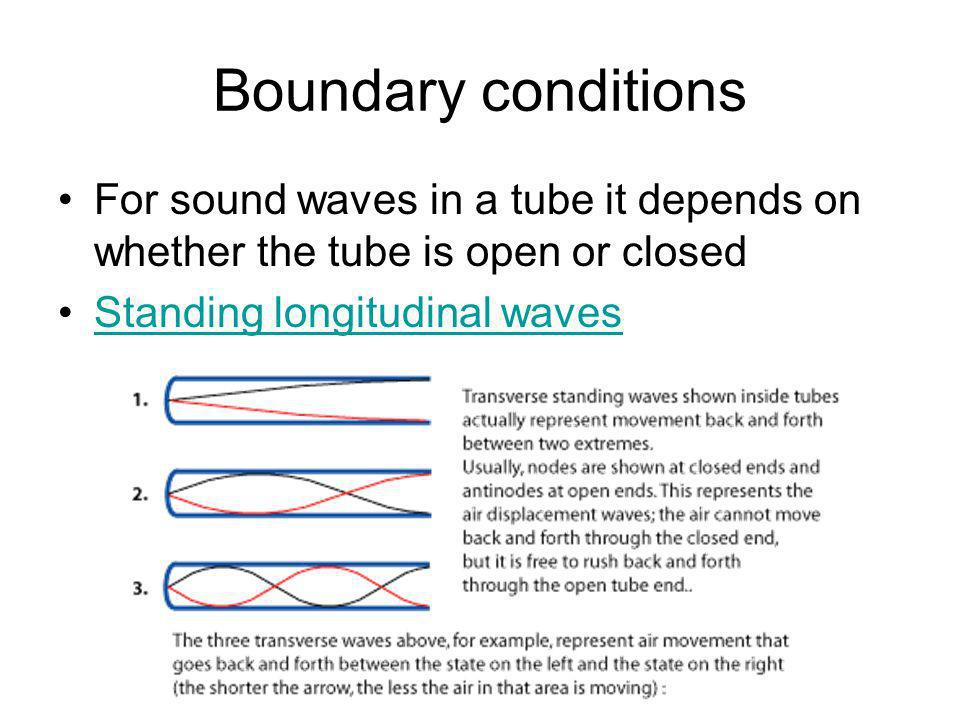 Boundary conditions For sound waves in a tube it depends on whether the tube is open or closed.