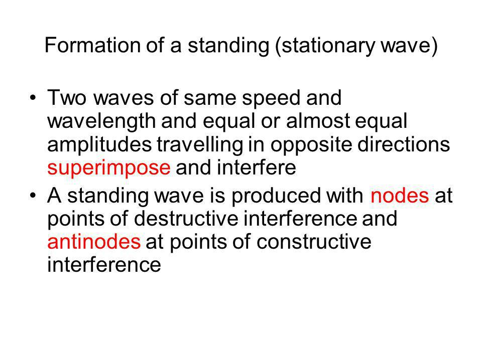 Formation of a standing (stationary wave)
