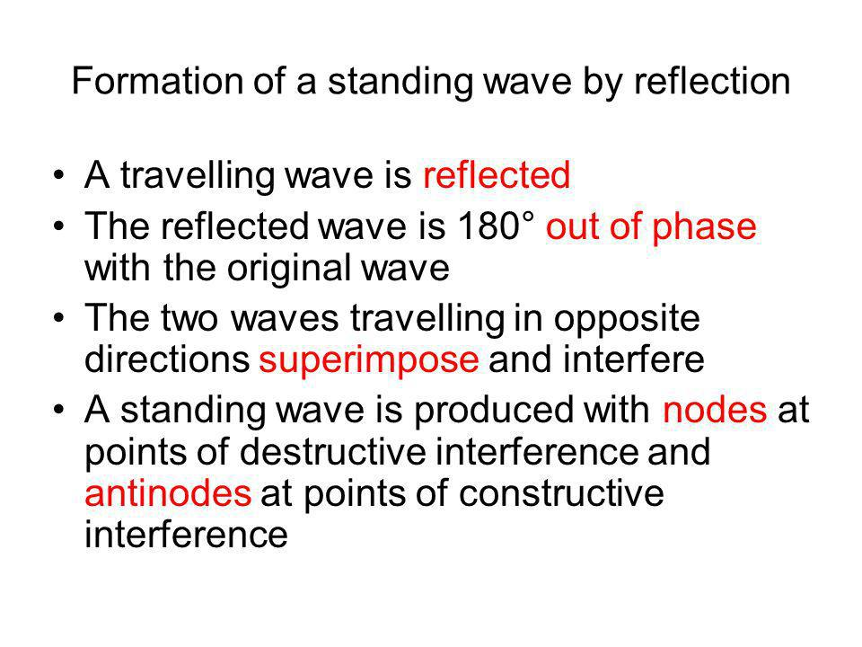Formation of a standing wave by reflection