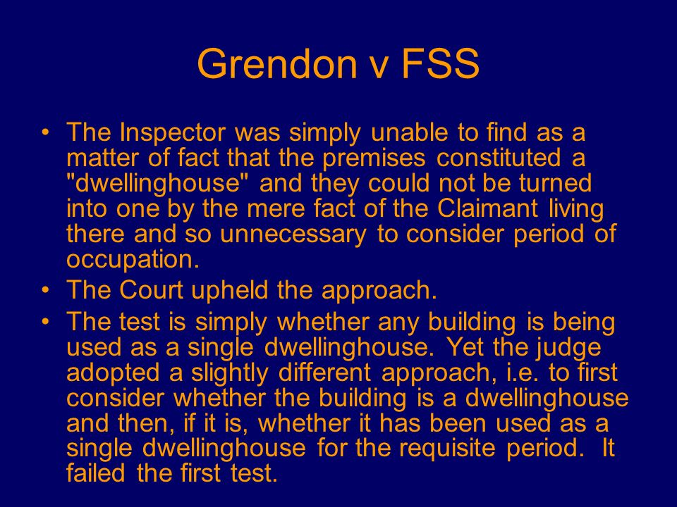 Grendon v FSS
