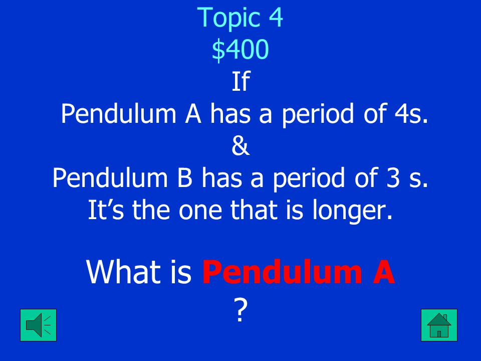 Topic 4 $400 If Pendulum A has a period of 4s