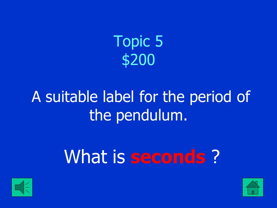 Topic 5 $200 A suitable label for the period of the pendulum.