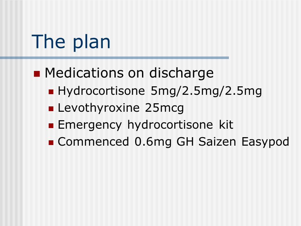 The plan Medications on discharge Hydrocortisone 5mg/2.5mg/2.5mg