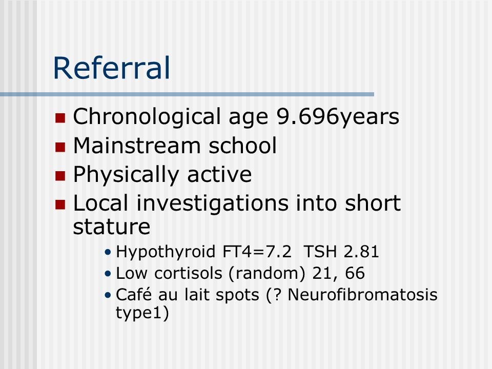 Referral Chronological age 9.696years Mainstream school
