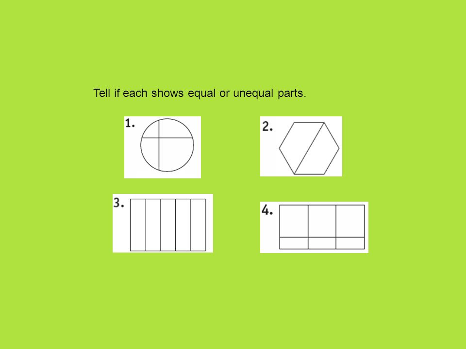 Tell if each shows equal or unequal parts.