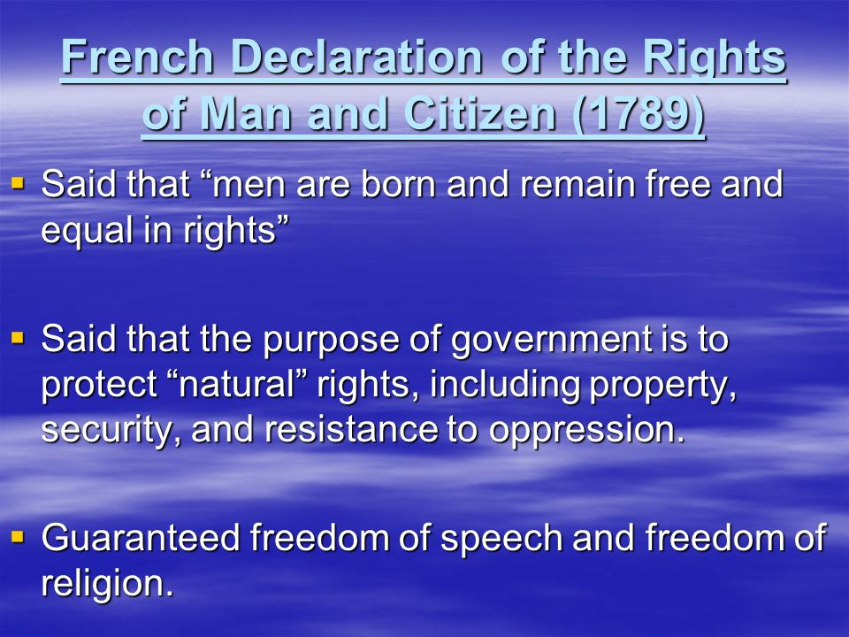 French Declaration of the Rights of Man and Citizen (1789)