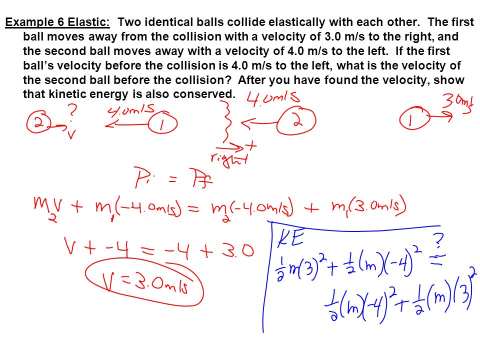 Example 6 Elastic: Two identical balls collide elastically with each other.