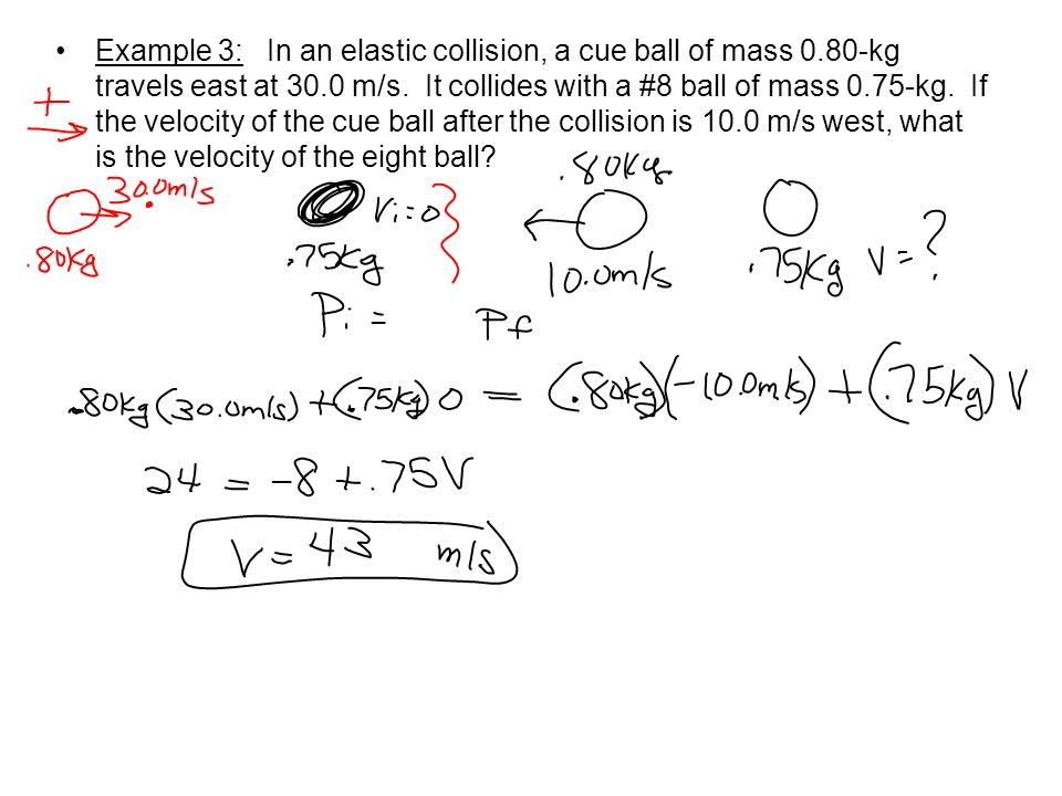 Example 3: In an elastic collision, a cue ball of mass 0