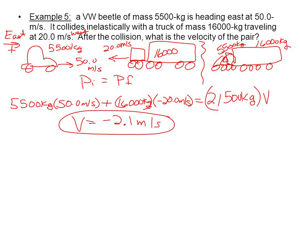 Example 5: a VW beetle of mass 5500-kg is heading east at 50. 0-m/s