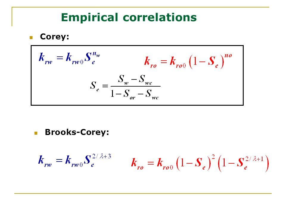 Empirical correlations