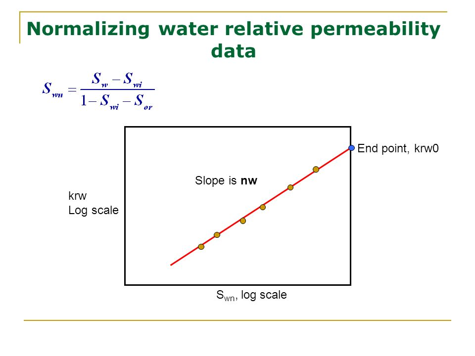 Normalizing water relative permeability data