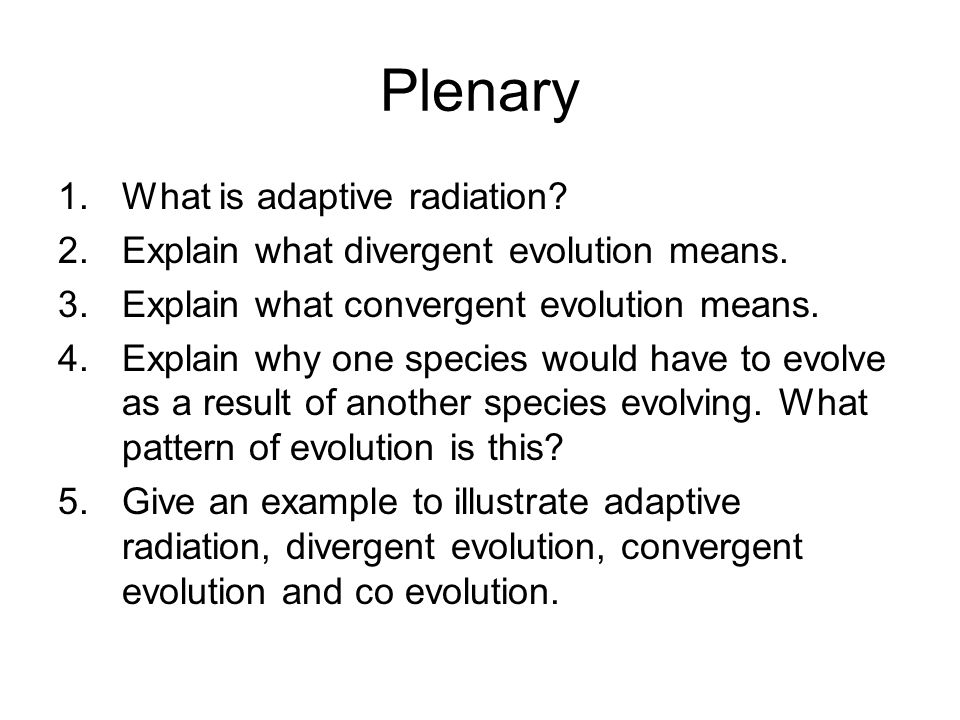 Plenary What is adaptive radiation
