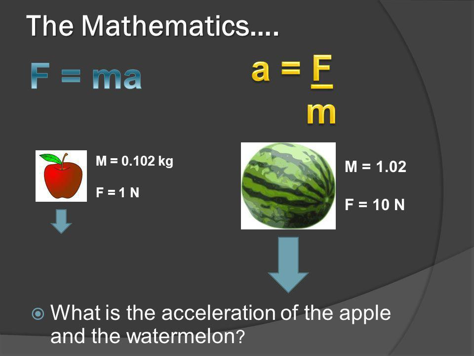 a = F F = ma m The Mathematics….