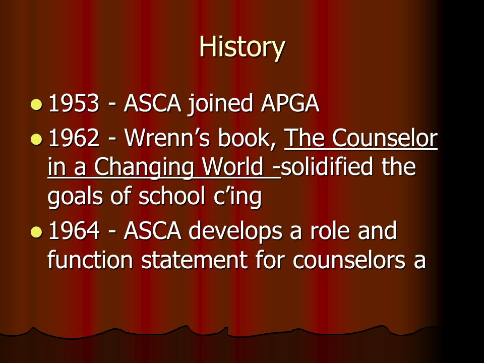 History 1953 - ASCA joined APGA