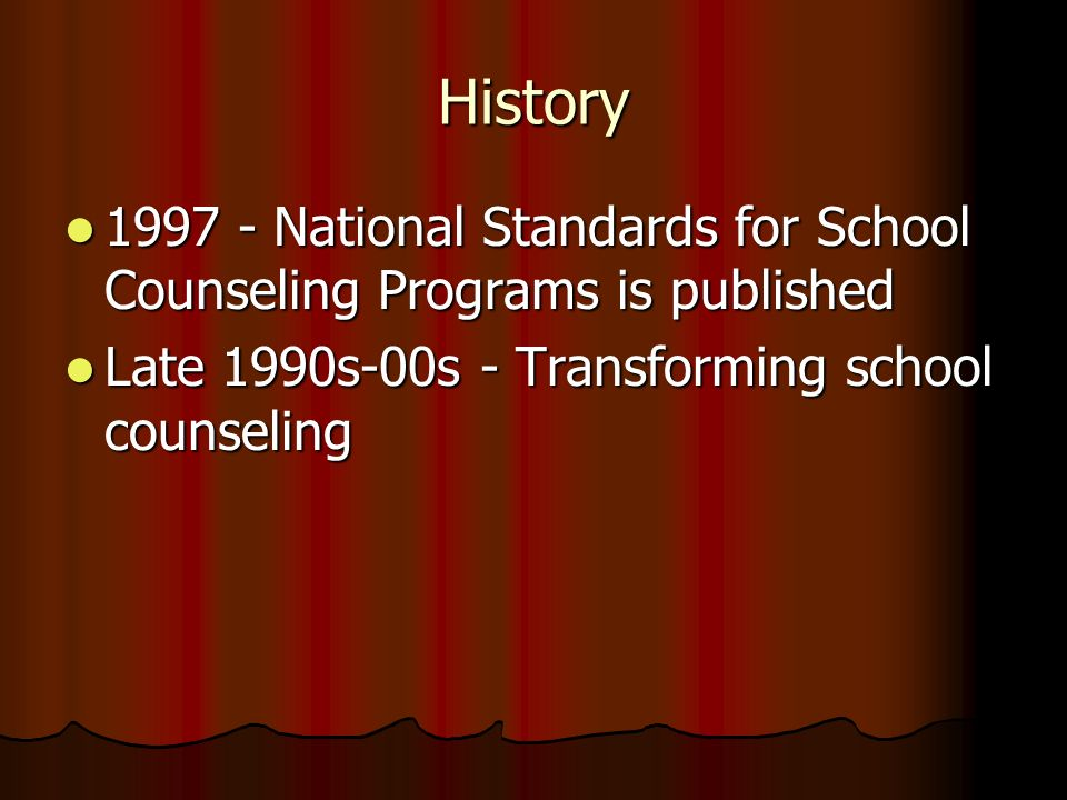 History1997 - National Standards for School Counseling Programs is published.