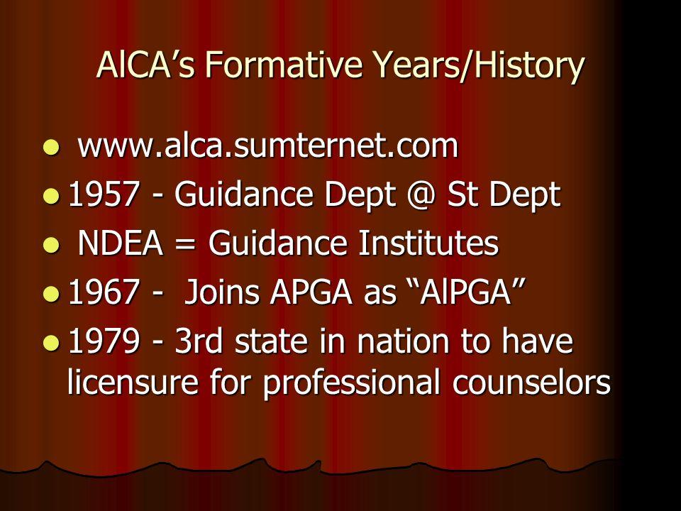 AlCA's Formative Years/History