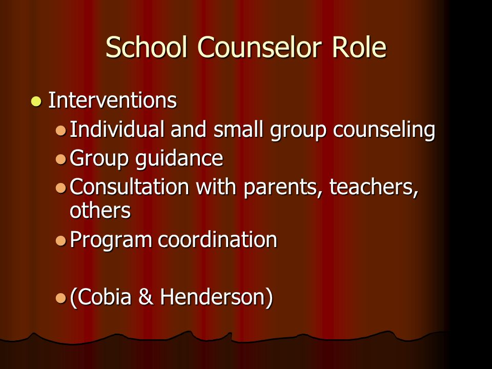 School Counselor Role Interventions