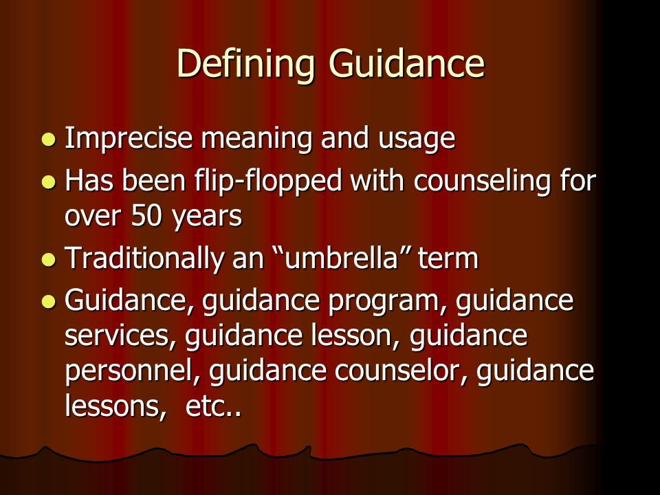 Defining Guidance Imprecise meaning and usage