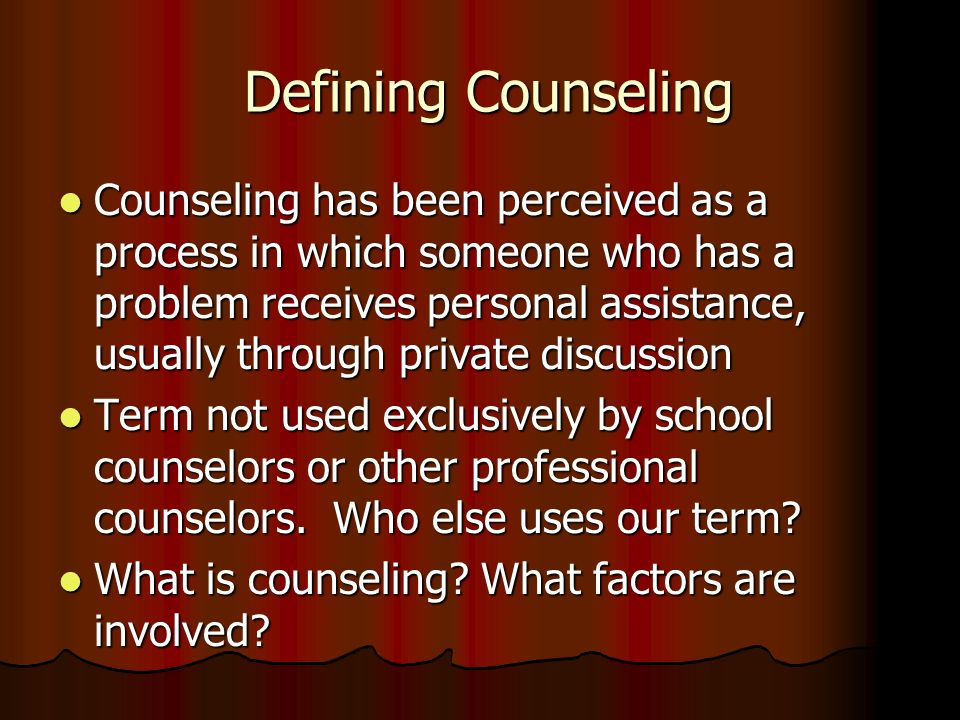 Defining Counseling