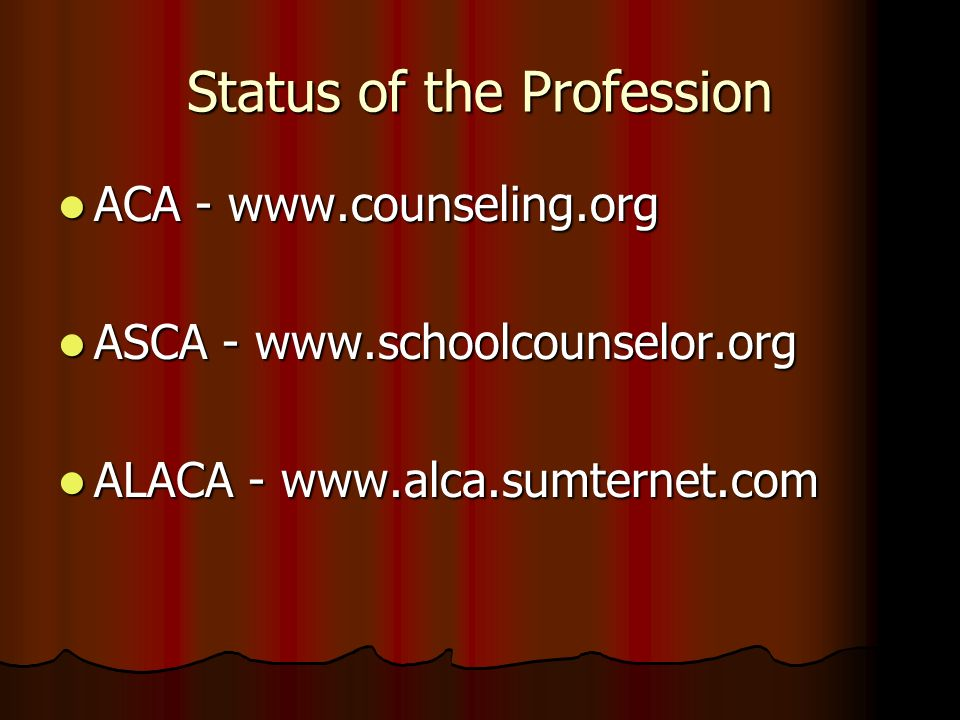 Status of the Profession