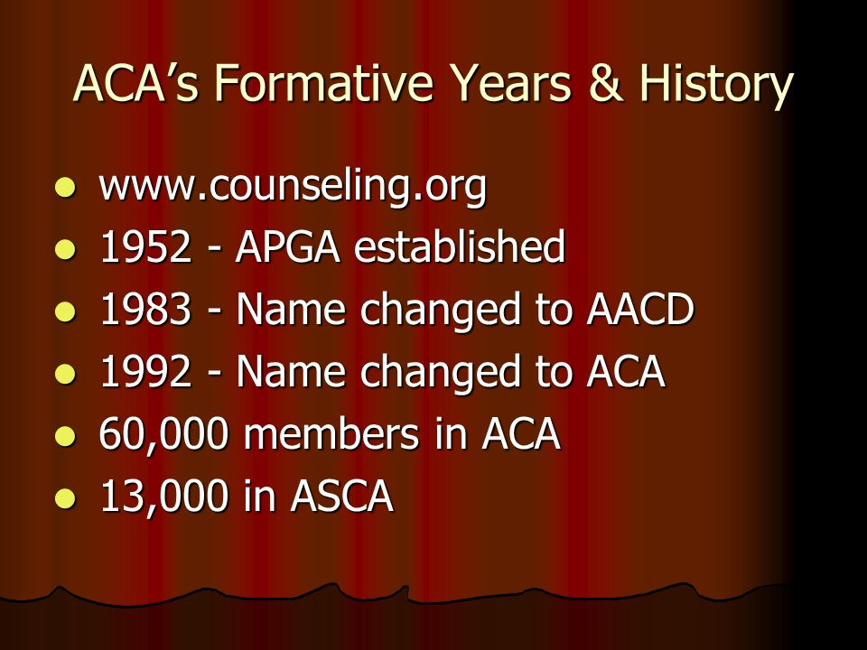 ACA's Formative Years & History