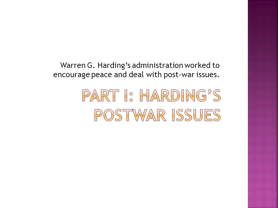 Part I: Harding's Postwar Issues