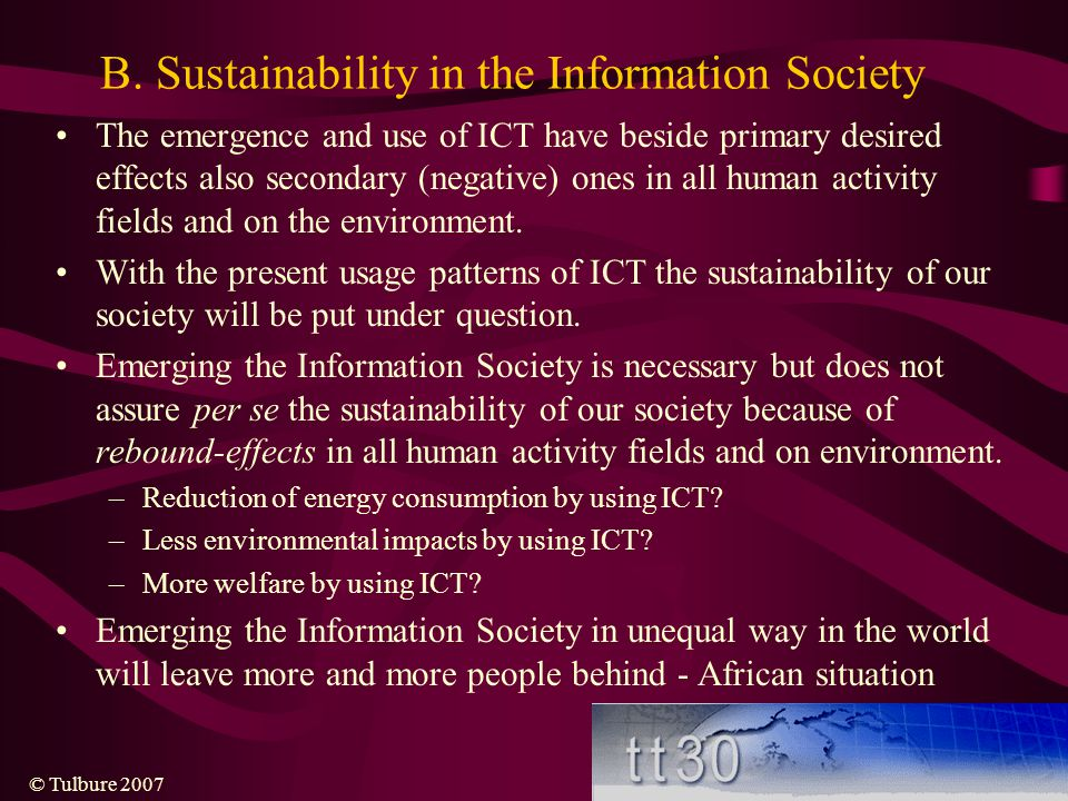 B. Sustainability in the Information Society