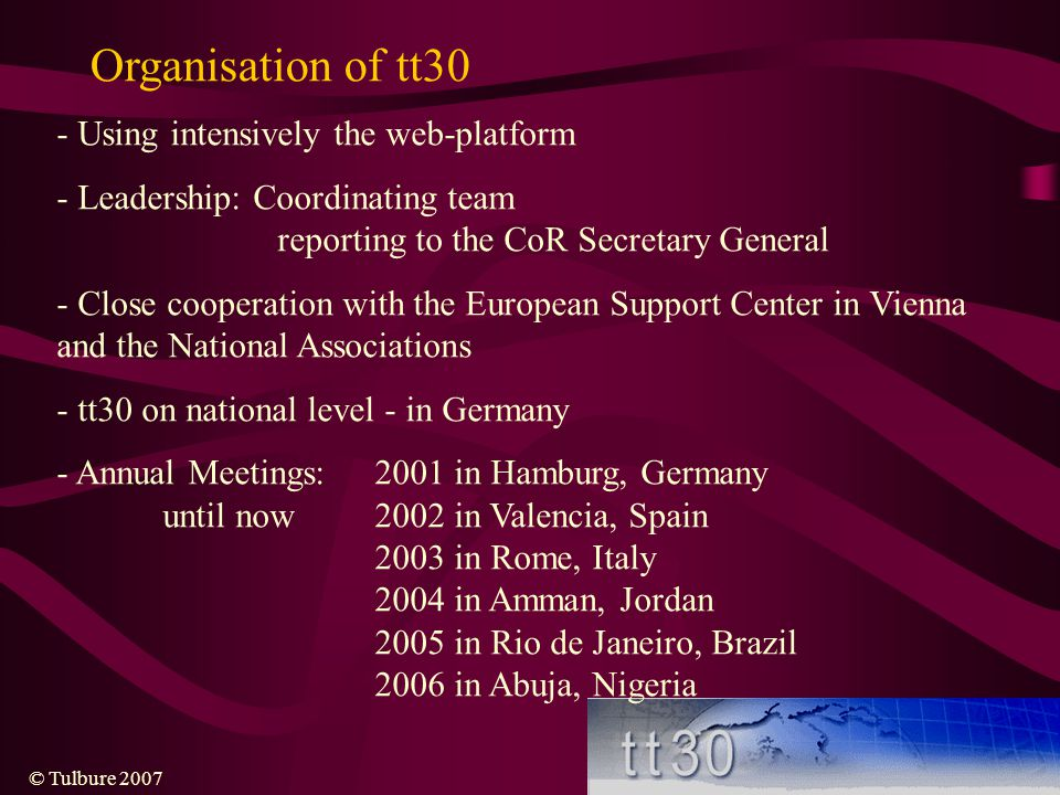 Organisation of tt30 - Using intensively the web-platform