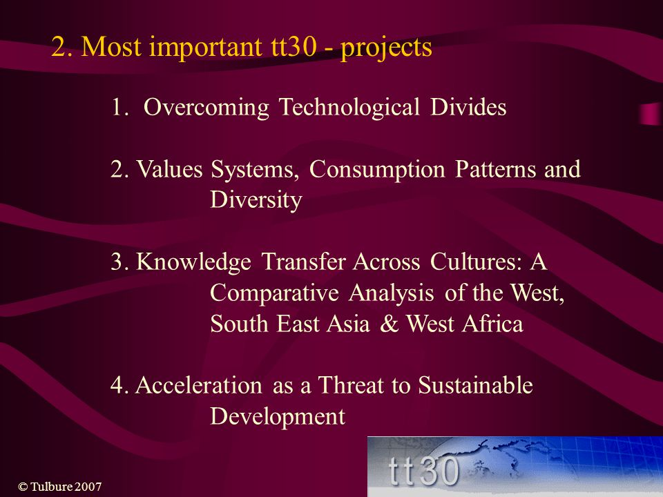 2. Most important tt30 - projects