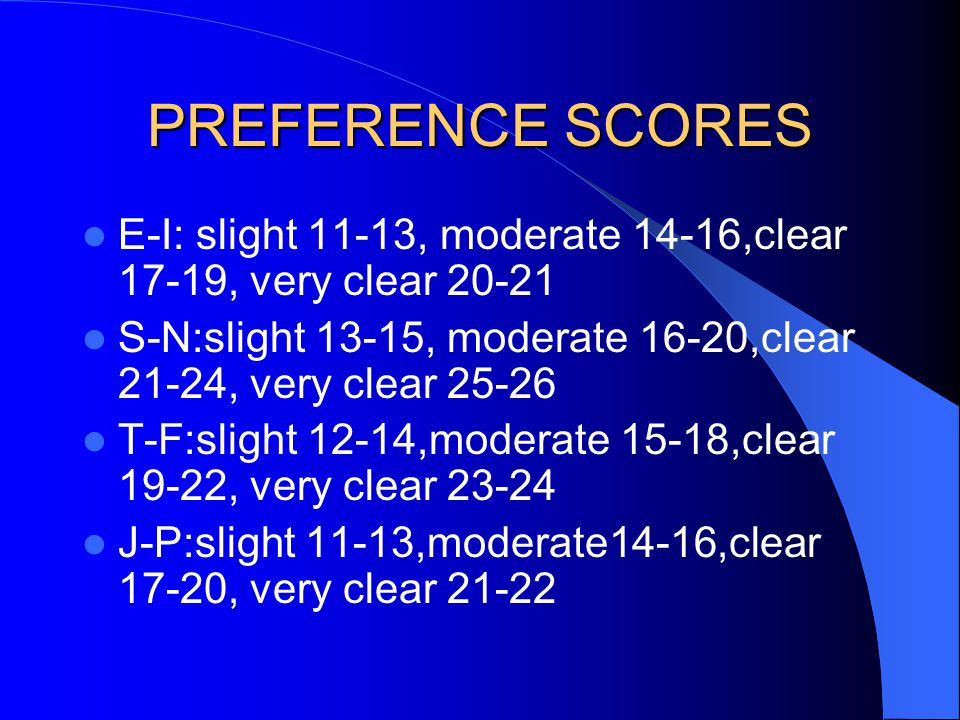 PREFERENCE SCORES E-I: slight 11-13, moderate 14-16,clear 17-19, very clear 20-21. S-N:slight 13-15, moderate 16-20,clear 21-24, very clear 25-26.