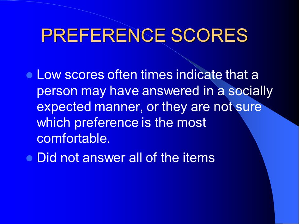 PREFERENCE SCORES