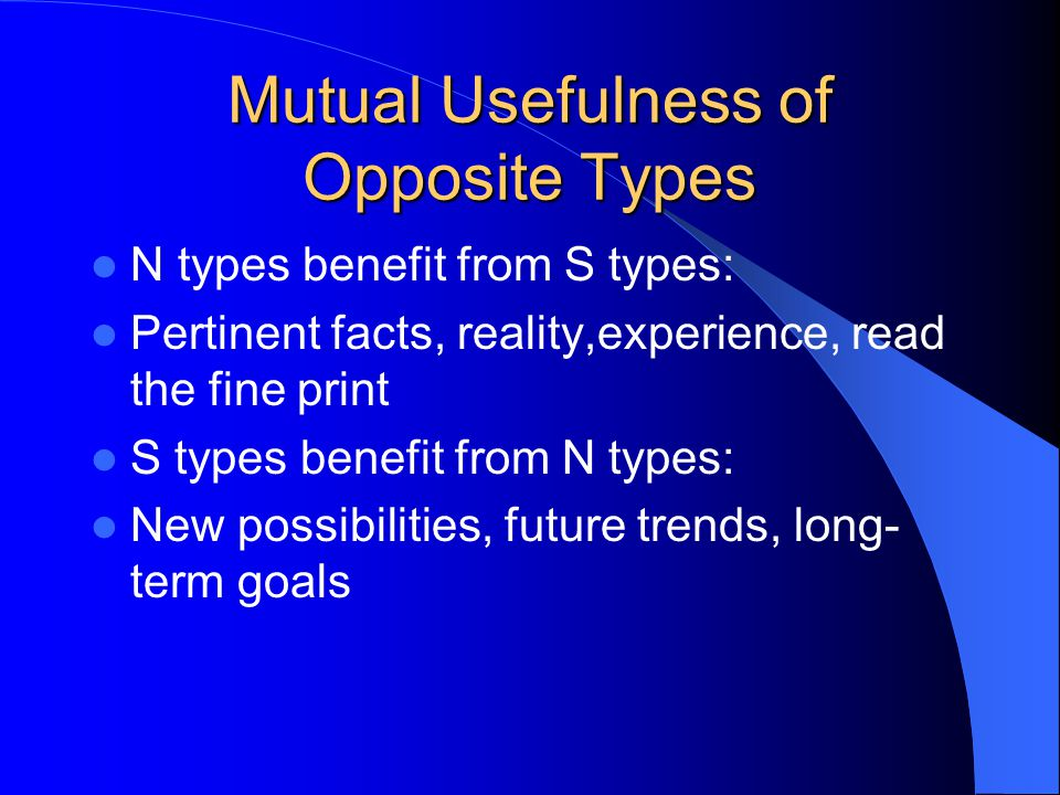 Mutual Usefulness of Opposite Types