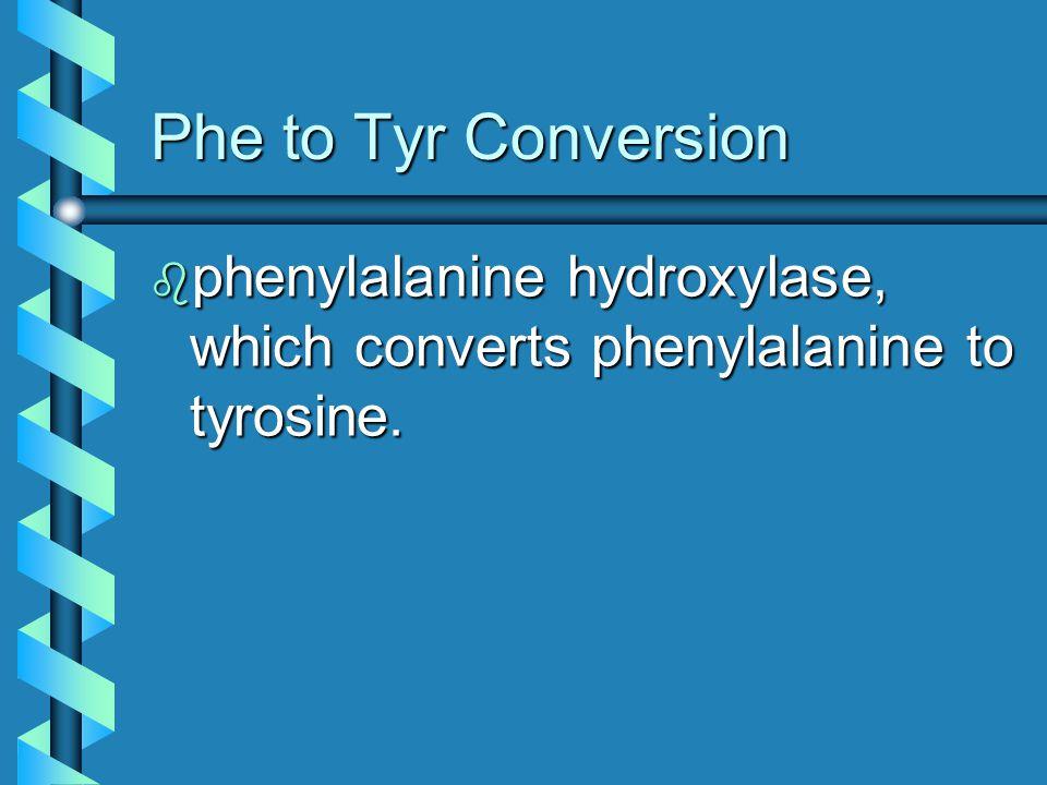 Phe to Tyr Conversion phenylalanine hydroxylase, which converts phenylalanine to tyrosine.