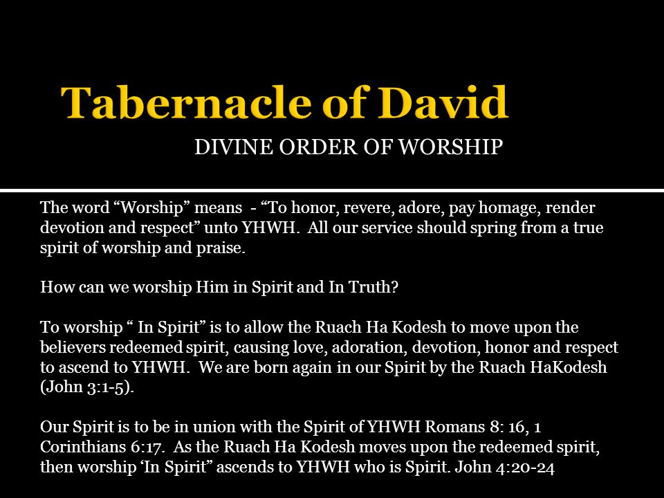 DIVINE ORDER OF WORSHIP