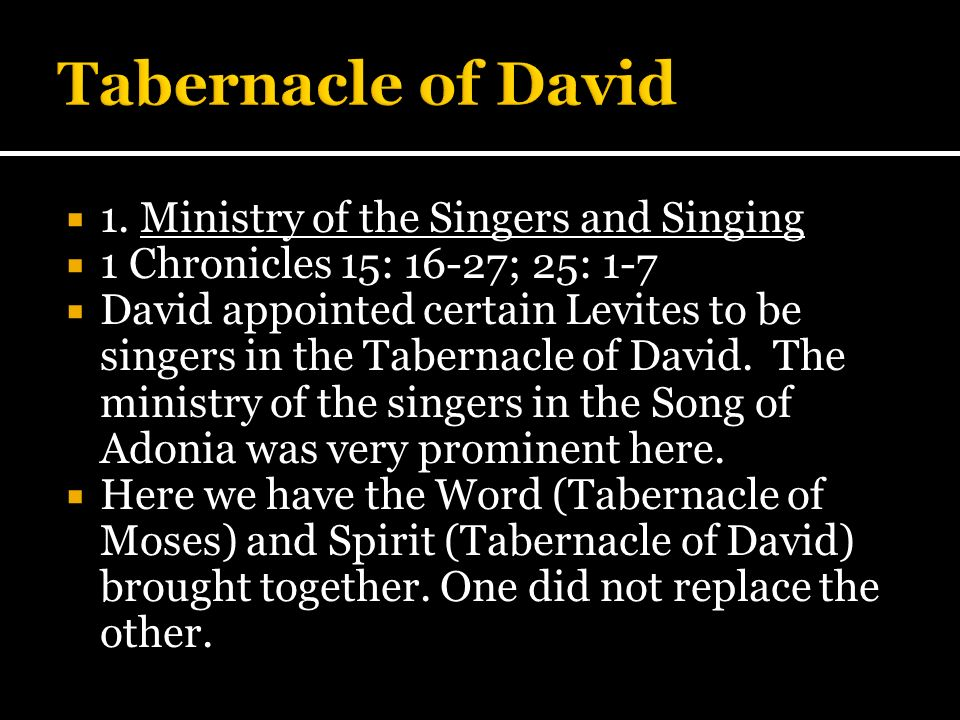 Tabernacle of David 1. Ministry of the Singers and Singing