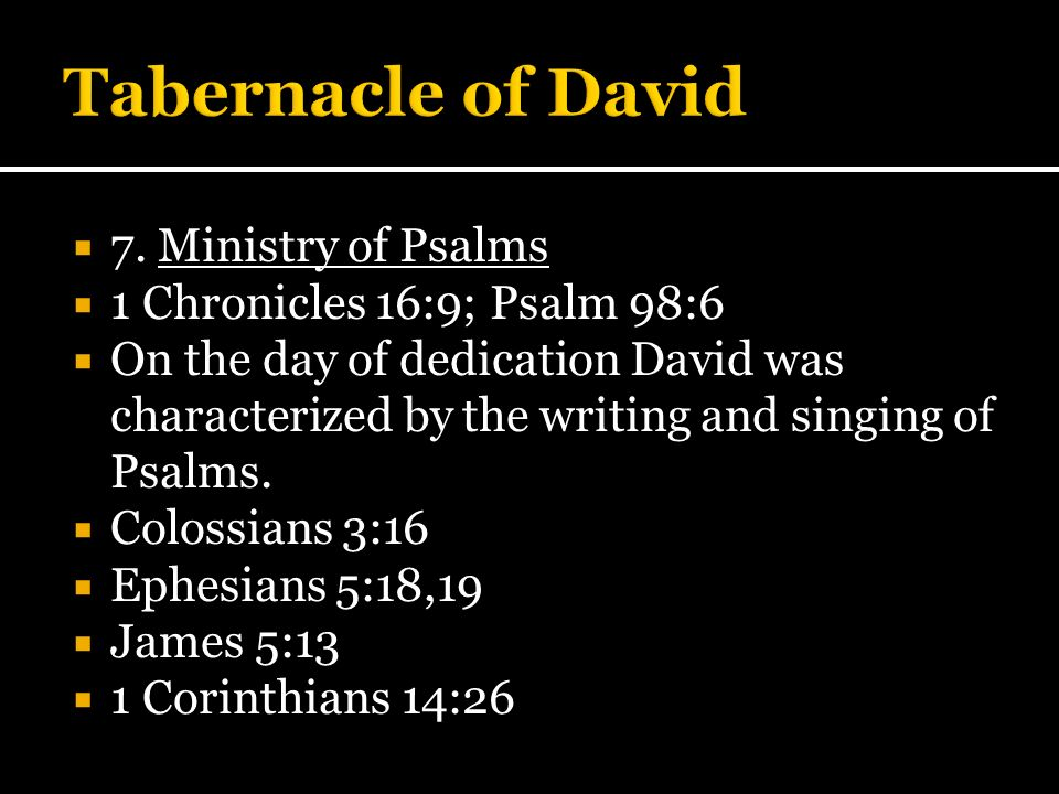 Tabernacle of David 7. Ministry of Psalms