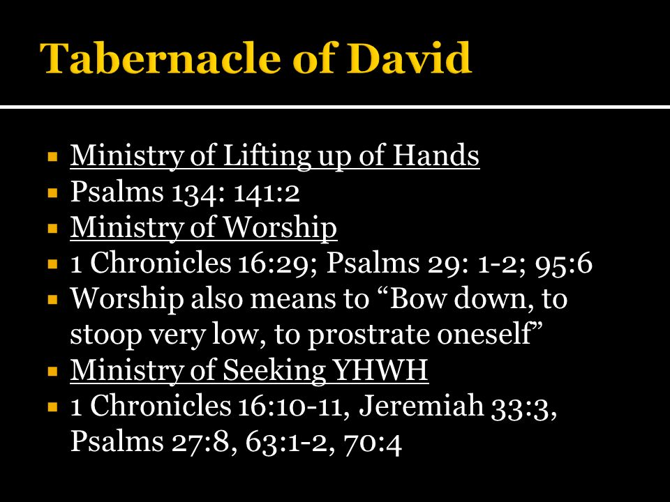 Tabernacle of David Ministry of Lifting up of Hands Psalms 134: 141:2